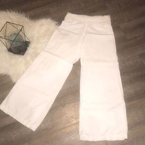 White Linen Blend Wide Leg Pants-Old Navy Sz S